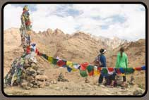 At the pass with prayer flags